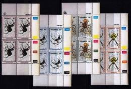 TRANSKEI, 1987, Mint Never Hinged Stamps In Control Blocks, MI 206-209,  Spiders,  X242 - Transkei