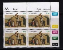 TRANSKEI, 1990, Mint Never Hinged Stamps In Control Blocks, MI  258,  Xhosa Culture  X258 - Transkei