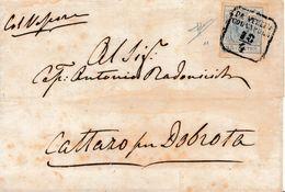 LV186 - VIA DI MARE - Involucro Del 10 Aprile 1852 Da Venezia A Cattaro Per Dobrota Con Cent 45 Azzurro 2° Tipo . - Lombardy-Venetia