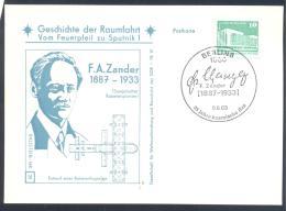 Germany DDR Card: Space Weltraum Espace: History Of Space Flights 25/50 F:A Zander Rocket Pioneer - FDC & Gedenkmarken