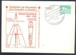 Germany DDR Card: Space Weltraum Espace: History Of Space Flights 27/50 Robert Goddart Rocket Peoneer - FDC & Gedenkmarken