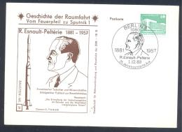 Germany DDR Card: Space Weltraum Espace: History Of Space Flights 39/50; R. Esnault - Pelterie; Diamant A Rocket - FDC & Gedenkmarken