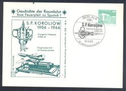 Germany DDR Card: Space Weltraum Espace: History Of Space Flights 42/50; S. P. Koroliow; Rocket; ORM-65 - FDC & Gedenkmarken