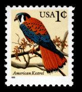 USA, Scott #2477, American Kestrel, 1c, Black Lettering And Year, 1995, Shiny Gum,  MNH, VF - Stati Uniti