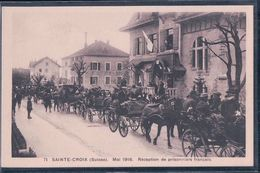 Guerre 14-18, Sainte-Croix Suisse, Reception De Prisonniers Français En 1916, Attelages (71) - War 1914-18