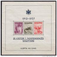 2869(1). Albania, 1937, 25 Years Of Independence, Block 1, MNH (**) - Albanie