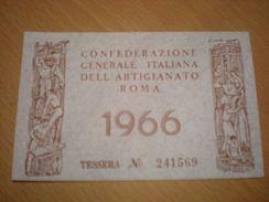 TESSERA CONFEDERAZIONE GENERALE ITALIANA DELL'ARTIGIANATO ROMA 1966 - Organizzazioni