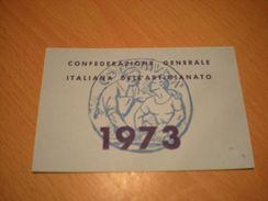 TESSERA CONFEDERAZIONE GENERALE ITALIANA DELL'ARTIGIANATO 1973 - Organizzazioni
