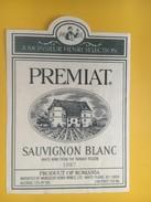 4744 -  A Monsieur Henri Selection Premiat  Sauvignon Blanc 1987 Roumanie - Etiquettes