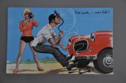 REF 301  : CPSM Louis CARRIERE Illustrateur Pin Up C'est Parti Mon Kiki Voiture En Panne - Carrière, Louis