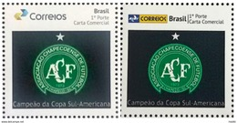 BRAZIL 2017 Chapecoense Team Football Soccer Barcelona New And Old Brazilian Post Logo - 2 Stamps - Brasil