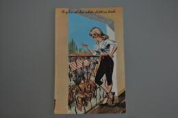 REF 301  : CPSM Illustrateur Louis CARRIERE Pin Up Chasse Le Gibier Est Cher... - Carrière, Louis