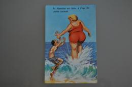 REF 301  : CPSM Illustrateur Louis CARRIERE Pin Up Grosse Dame : La Digestion Est Faite - Carrière, Louis