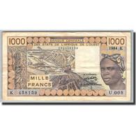 West African States, 1000 Francs, 1977-1981, KM:207Bc, 1984, TTB - Billets