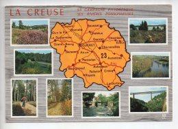 REF 288  : CPSM Carte Géographique Contour De Département : 23 LA CREUSE - Cartes Géographiques