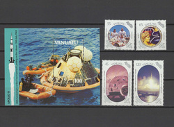 Vanuatu 1989 Space Apollo 20th Anniversary Moon Landing Set Of 4 + S/s MNH - Raumfahrt