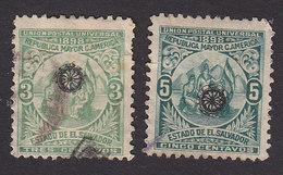 El Salvador, Scott #194-195, Used, Allegory Of Central American Union Overprinted, Issued 1899 - El Salvador