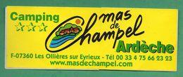 CAMPING MAS DE CHAMPEL 07360 LES OLLIERES SUR EYRIEUX  /  AUTOCOLLANT - Autocollants