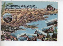 REF 293  : CPSM Carte Géographique Contour De Département : Excursion De Nice à Menton - Maps