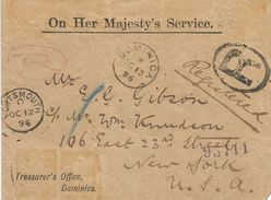 Dominica 1896 Unfranked Registered Official OHMS Covervia Portsmouth To USA - Dominica (1978-...)