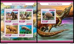 DJIBOUTI 2017 - Extinct Animals M/S + S/S. Official Issue. - Préhistoriques