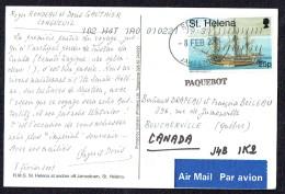 2001  Postcard To Canada   25p  HMS Endeavour  Ship - Sainte-Hélène