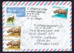 2005  Lettre Avion Pour Le Canada  Antilope De Menelik Et Rhinocéros Noir - Ethiopie