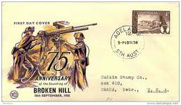 1958  Broken Hill 75th Ann.  WCS Cover - Adelaide Cancel, To USA - FDC