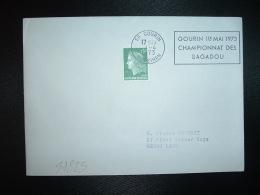 LETTRE TP MARIANNE DE CHEFFER 0,30 OBL.MEC.2-4-1973 GOURIN (56 MORBIHAN) GOURIN 1ER MAI 1973 CHAMPIONNAT DES BAGADOU - Mechanische Stempels (reclame)