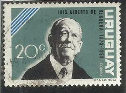 URUGUAY 1964 LUIS ALBERTO DE HERRERA CENT. 20 USATO USED OBLITERE' - Uruguay