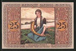 Billet De Nécessité Tondern 1920, 25 Pfennig, Fräulein Avec Goldenen Horn - Danemark
