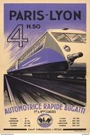 Paris-Lyon Automotrice Rapide Bugatti PLM - Postcard - Poster Reproduction - Publicité