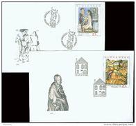 2 FDC 281 282 SLOVAQUIE 2002 Mi 441 442 Yv 381 382 Art Décollation De St Jacques LEVOCA à L' Atelier De SOKOL - FDC