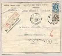 Belgié - 1929 - 2Fr Houyoux + 10 Cent Op R-zakenbrief Van Nijvel - Soort Vouwbrief - 1922-1927 Houyoux