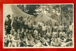 LATVIA LETTLAND SOLDIERS SEMI NUDE VINTAGE PHOTO POSTCARD 277 - Vintage Men < 1945