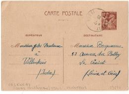 Ecrite De VILLENTROIS, VALENCAY Indre Bloc Dateur SANS Millésime (1941) Sur Carte IRIS. - 1921-1960: Modern Period