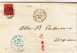 Olgiate Comasco. Piego Con Timbro Numerale A Barre. Anno 1884 - Storia Postale