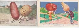 Lot De 2 CPA Publicité Potasses D'Alsace:Navet Tomates Pommes De Terre. - Werbepostkarten
