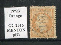FRANCE- Y&T N°23- GC 2316 (MENTON 87) - Poststempel (Einzelmarken)