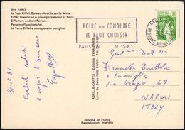 FRANCE PARIS 1981 - BOIRE OU CONDUIRE / IL FAUT CHOISIR - CARTE POSTALE TOUR EIFFEL - Bibite
