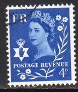 GB N. Ireland 1968-9 No Watermark 4d Blue Regional Wilding, Used, SG 7 - Emissions Régionales