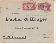 Lettre Cachet Départ Marseille Paquebot St Charles Sur TP Algérie.Montpellier 1938. - Algérie (1924-1962)