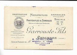 11 - Avis De Passage - Pantoufles Garrouste Fils à Chalabre. Cachet De A. Demilliere à Port-D' Atelier (70 ) - Francia