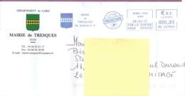 """Lettre  """"  Mairie De Tresques  - 30 - ( Gard )  Daté Du 28 - 02 - 2017 - France"""