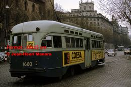 Reproduction D'une Photographie D'un Tramway PCC Ex-Washington Avec Publicité Coesa à Barcelone En Espagne En 1969 - Reproductions