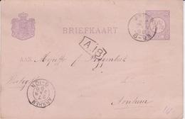 Netherlands-1888 2 1/2 Cents Violet On Pink PS Postcard Leiden Cover To Arnham - Periodo 1852 - 1890 (Guglielmo III)