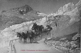 FURKASTRASSE BEIM RHONEGLETSCHER  → 5-Spänner Kutsche Anno 1909 - VS Wallis