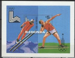 Redonda  1980 Jeux Olympiques Saut à Ski Lancement Du Poids - Olympic Games