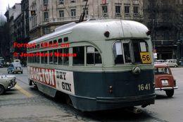 Reproduction D'une Photographie D'un Tramway PCC Ex-Washington Avec Publicité Boolton Dry Gin à Barcelone En Espagne - Reproductions