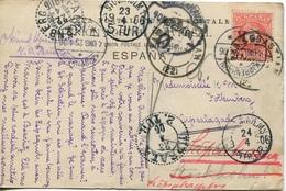 1906 Tarjeta Postal De San Sebastian A Upsala (Suecia) Redireccionada A Dinamarca, ¡¡¡9 Marcas Postales!!! - Lettres & Documents